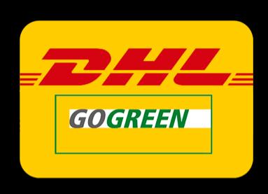 DHL go green logotype frakttjänster till ÅJ Distribution